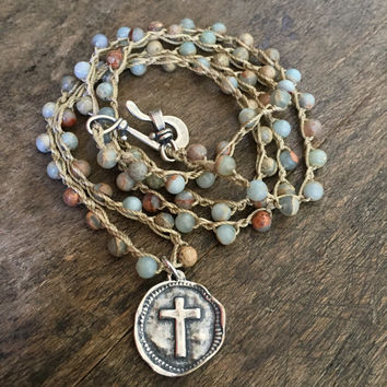 Boho Necklace, Knotted Gemstone, Cross Coin, Bohemian Beaded Faith Jewelry by Two Silver Sisters