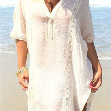 White V-Neck Half Sleeve Dipped Hem Chiffon Cover Up
