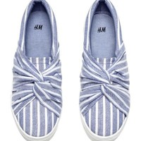 Knot-detail trainers - Blue/Striped - Ladies | H&M GB