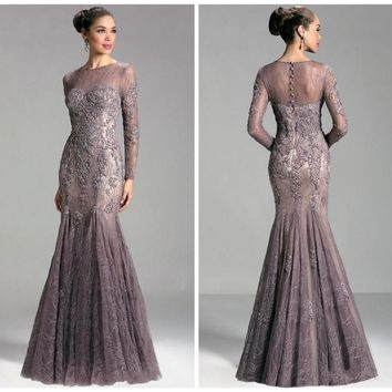 High Neck See Through Sexy Lace Mother Of The Bride Mermaid Dresses 2016 New Design HM145