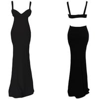 Black Spaghetti Strap Cutout Back Bodycon Maxi Dress