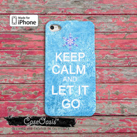 Keep Calm And Let It Go Disney Frozen Inspired Quote Elsa Cute Custom iPhone 4 and 4s Case and Custom iPhone 5 and 5s and 5c Case
