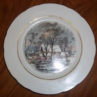 Currier & Ives AVON Rep Exclusive 1977 Cookie Plate Winter The Old Grist Mill