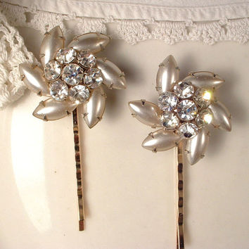 Pair Vintage Ivory / Champagne Pearl & Rhinestone Jeweled Bridal Bobby Pins - Gold Heirloom Jeweled Hair Clips OOAK Set of 2