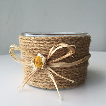 Real Daisy Vase or Candle Holder/ Natural Jute Rope Vase/ Rustic Wrapped Glass Vase/ Jute Glass Candle Holder