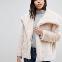 ASOS PETITE Faux Fur Collar Jacket at asos.com