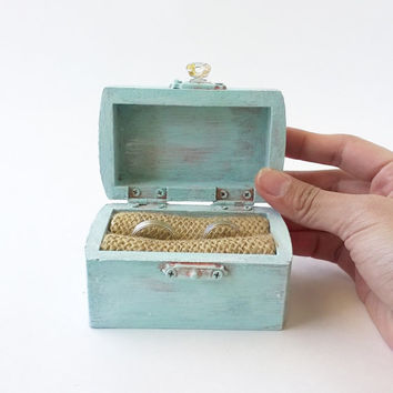 INTRO PRICE Blue Rustic Ring Box - Ring Bearer Box - Wedding Ring Box - Treasure Chest Ring Box - Wedding Ring Bearer - Ready to Ship