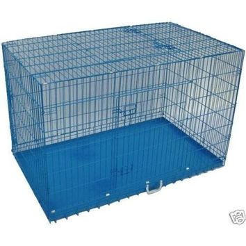"Blue 36"" 3 Doors Folding Suitcase Dog Crate Cat Cage Kennel w/DIVIDER Metal Pan"