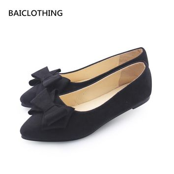 BAICLOTHING women casual black office shoes lady cute bow tie pointed tow flat shoes female cute spring & summer slip on shoes