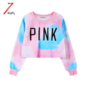 7mang 2017 new autumn women fashion punk cute letter printing short sweatshirts harajuku crop top pullover