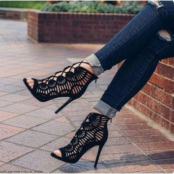 Cut Out Lace Up Open Toe  Heeled Gladiator Sandals