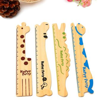Lovely Wooden Cartoon Animal Style Bookmark Note Ruler For Office School Stationery Education Supplies Student Kids Gifts 15cm