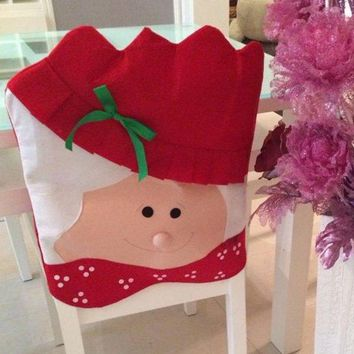 Christmas Table Decor Mrs Santa Chair Back Cover