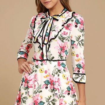 Perfectly Charming White Floral Print Skater Dress
