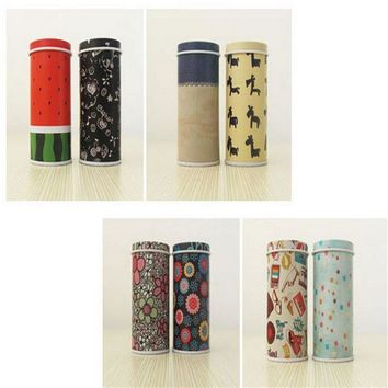Toothpicks Holder Mini Tin box Round Shape Candy Can Painted Metal Box Coin Saver Gift