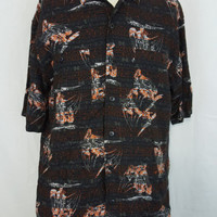 Harley Davidson Motorcycles Hawaiian Camp Rayon Black Shirt - M Medium