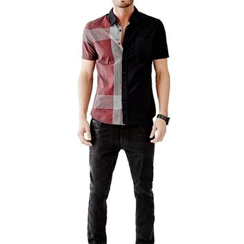 Short-Sleeve Gingham Color-Blocked Slim-Fit Shirt | GUESS.com