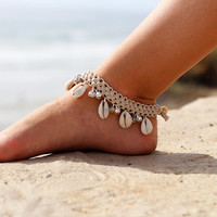 Bell Anklet, Beach Anklet, Cowrie Shell Anklet, Natural Hemp Anklets