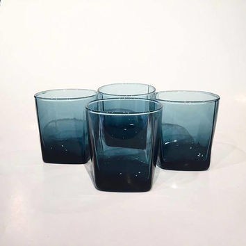 Blue Glass Tumblers, Retro Bar Glasses, Square Tumblers,Set of 4