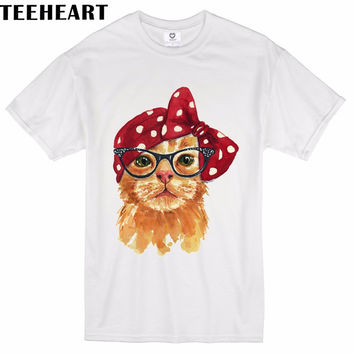 Designer Men Male Watercolor Cat Fox Vintage Cute Hipster Printed T-Shirt Fashion Cool Summer Top Tees