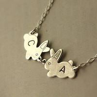 Initial 2 Bunnies Sterling Silver Bunnies and Necklace