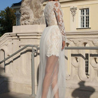Lace Embroider Sleeve Layered Dress