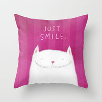 Just Smile! Throw Pillow by Dale Keys | Society6