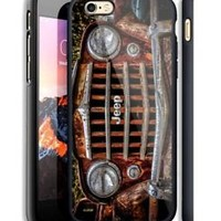 Jeep Vintage Grill Automotive iPhone 6s 7 8 X Plus Print On Hard Plastic Case