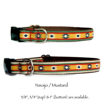 Navajo mustard dog collar Southwestern dog collar Native American dog collar small dog collar Large dog collar boy dog collar