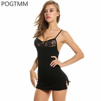 Short Mini Lace Night Dress Lingerie  Underwear Set Women Baby Doll Chemise Female Costume Black Red L3