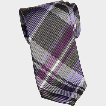 "Egara Plum Plaid Narrow Tie - Narrow (3 to 3 1/4"") 