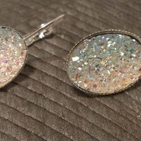 Druzy earrings-  ab clear drusy silver tone dangle druzy earrings