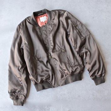 padded satin bomber jacket - olive