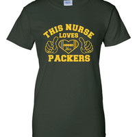 This Nurse Loves Her Packers Tshirt. Sport Tshirts For All Ages. Great Shirt Ladies and Unisex Style Shirt.  Makes a Great Gift!!!!!