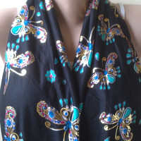 butterfly combed cotton  black Infinity scarf  circle scarf loop scarf gold turquoise butterfly unique printed jarsey cotton knitwear 0044