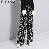 TWOTWINSTYLE Chinese Style Elastic High Waist Trousers for Women Printed Casual Female Wide Leg Pants Vintage Bottoms Big Sizes