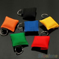 Hot Newest Disposable CPR Resuscitator Mask Keychain Key Ring Emergency Face Shield Rescue