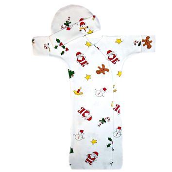 Baby Christmas Bunting Unisex Gown and Hat Set