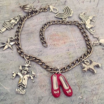 There's No Place Like Home Charm Bracelet , Fandom Jewelry, Oz Jewelry, Fairytale Jewelry, Wizard Jewelry, Wicked Witch Jewelry
