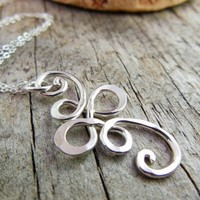 Swirling Filigree Pendant, Sterling Necklace, Brides Maid Jewely