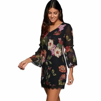 Women Spring Summer Lace Dress 3/4 Flare Bell Sleeve Sexy V-neck Flora Printed Mini Black Boho Dresses Female