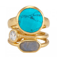 Melinda Maria Courtney Ring Gold Turquoise White CZ Labradorite