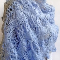 "Palatine ""Tenderness"", Knitted Shawl, Shawl Crochet, Knitting to order, Buy Shawl, Gift, Palatine, Blue, Palatine crocheted"