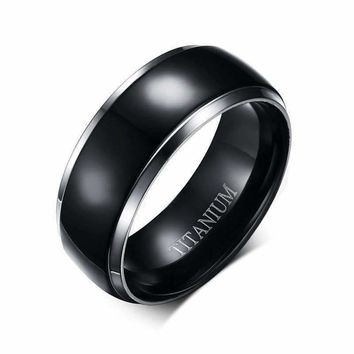Sable Black Titanium Men's Wedding Band Ring