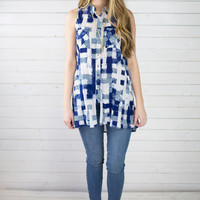 Kellie Check Print Button Up Tunic