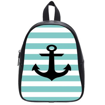 Anchor_Mint_Green_Nautical_Stripes School Backpack Large