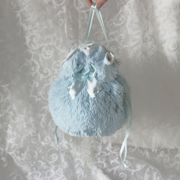 Blue plush pompadour purse evening handbag wristlet drawstring reticule