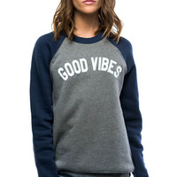 Sub_Urban Riot Good Vibes Raglan Sweater in Heather Grey