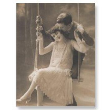 Vintage Romantic Couples Cards and Gifts - Flapper Postcard