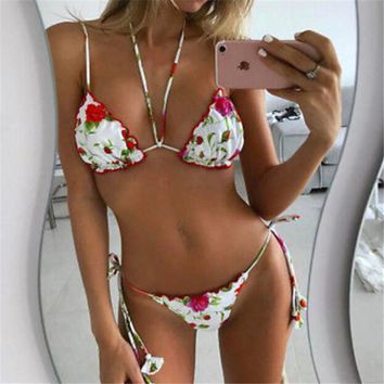 Women Bikini 2017 Summer Vintage Retro Floral Strapless Women Swimsuit Low Waisted String Bikini Bottoms Swimming Suit For Women
